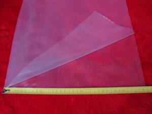 Na zdjęciu półrękaw o szerokości 355 mm. Po rozłożeniu folia ma szerokość 2 * 355 mm = 710 mm.